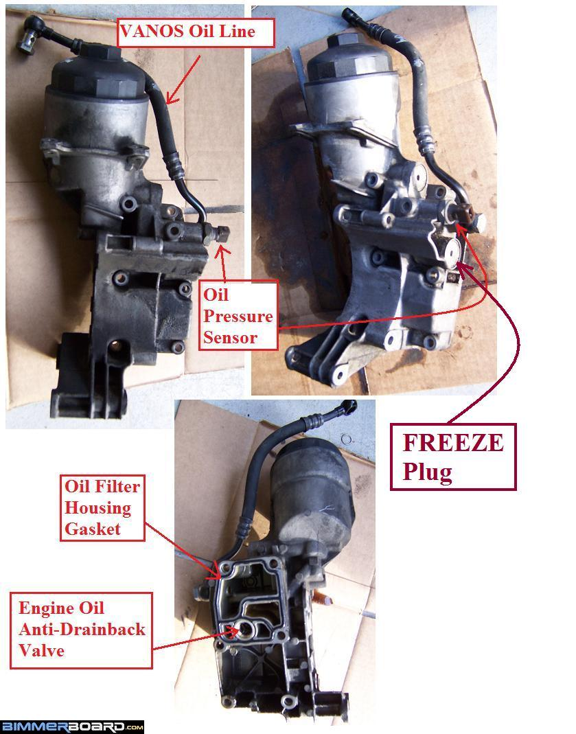 Diy 1998 528i Oil Filter Housing Gasket Freeze Plugs Leak Repair Bmw E90 The Barely Sticks Out Maybe 02 Mm So Avoid Using Additional Maker Here Because It Can Potentially Affect Factory Sealing