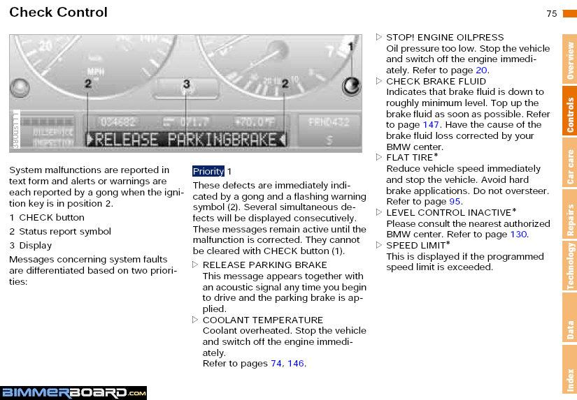 List Of All Possible Bmw E39 Instrument Cluster Text Warnings Text