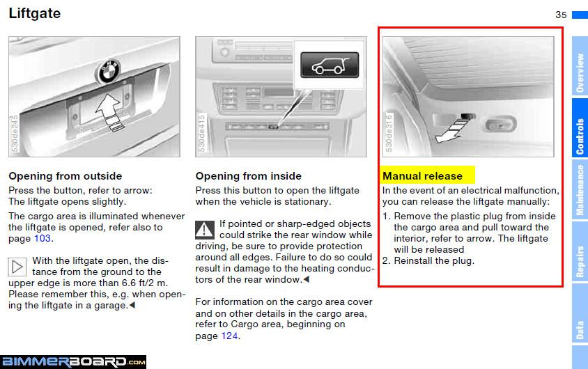 manual release for tailgate?? - Bimmerfest - BMW Forums