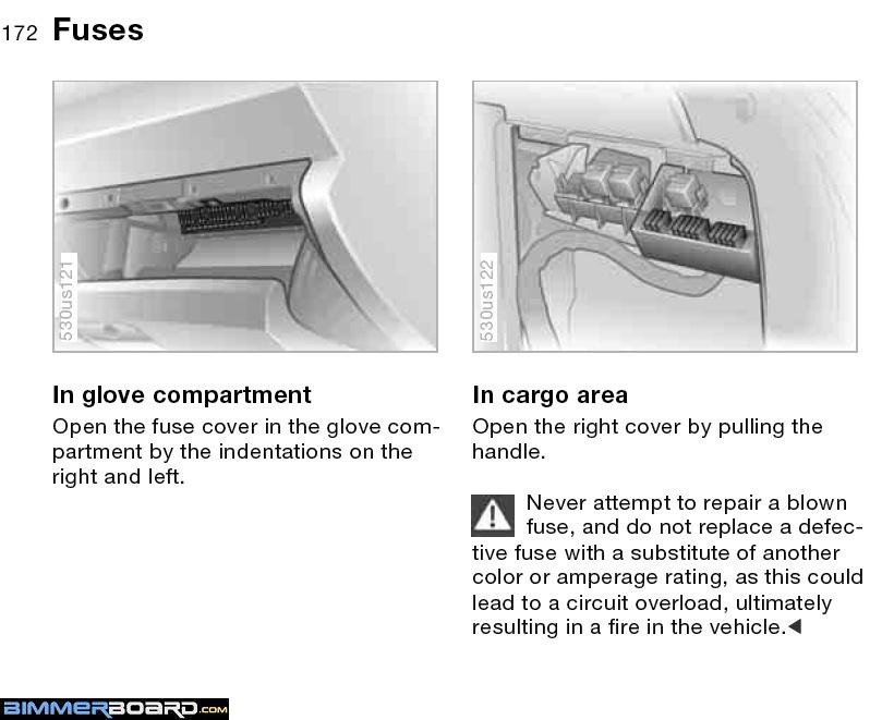 fuse box diagram bimmerfest bmw forums you push inward the lid to the front fuse box will then swivel down and expose all of the fuses and there should be a fuse index adhered to the lid
