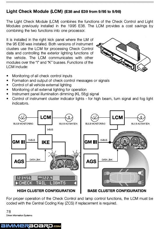 i e fuse box schematic bmw forums info below explains the evolution of the lm lcm which controls all the exterior lights etc