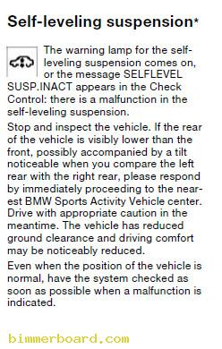 Low Cluster SLS Self Leveling System Warning Light self level suspension inactive great tip!!! page 2 2001 BMW X5 Interior Diagram at gsmportal.co